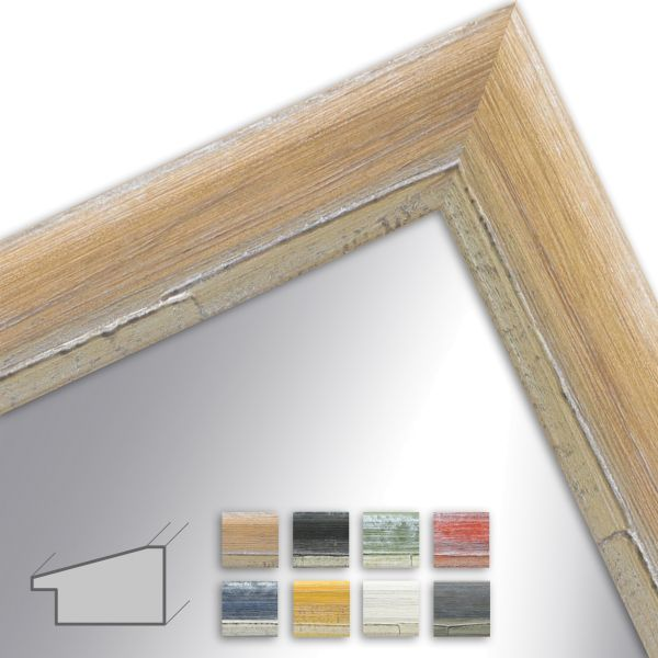 Wandspiegel nach Maß H640 Shabby-Chic aus Massivholz