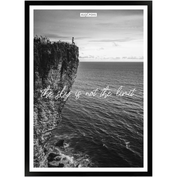 The Sky is not the Limit by Alex Pohl | Poster mit Holzrahmen 50x70 cm