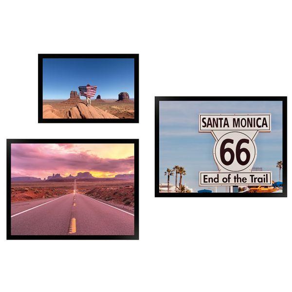 Wandgalerie H950 Schwarz mit Poster - 3er Set | Amerika Edition 4