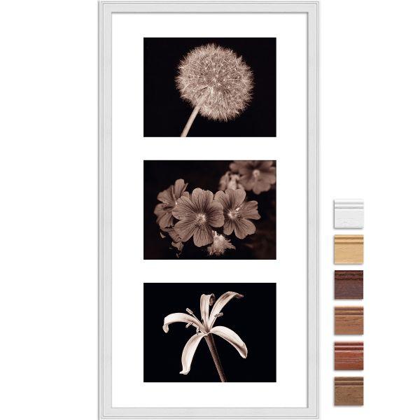 Galerierahmen G320 30 x 60 Normalglas inkl. Passepartout weiß - 3 Ausschnitte 15 x 20 quer