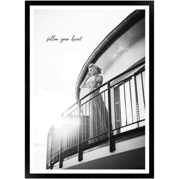 Follow your heart by Alex Pohl | Poster mit Holzrahmen 50x70 cm