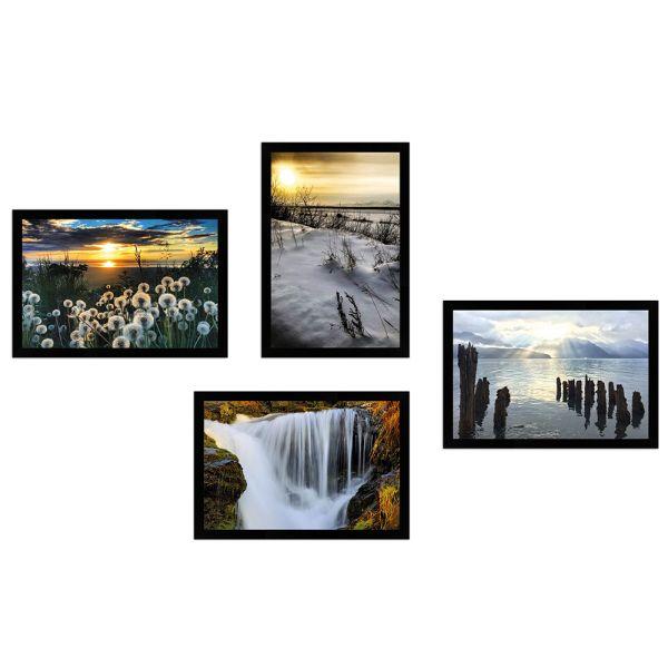 Wandgalerie H950 Schwarz mit Poster - 4er Set | Alaska Edition 2