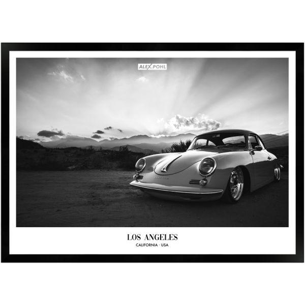 Los Angeles Porsche by Alex Pohl | Poster mit Holzrahmen 50x70 cm