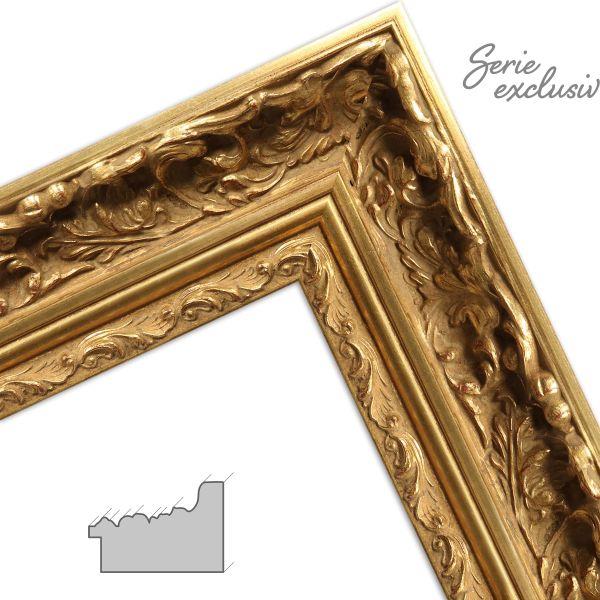Bilderrahmen nach Maß E014 Barock Gold aus Massivholz