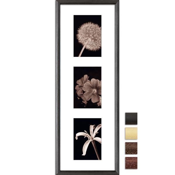 Galerierahmen G004 20 x 60 Normalglas inkl. Passepartout weiß - 3 Ausschnitte 10 x 15 hoch