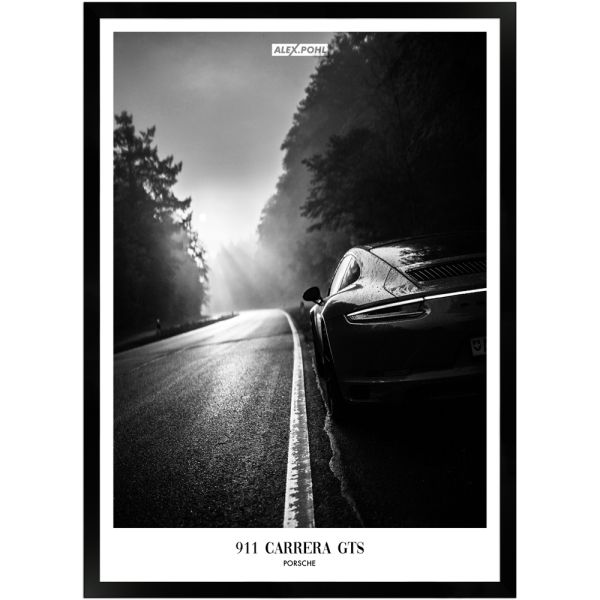 Porsche 911 Carrera GTS by Alex Pohl   Poster mit Holzrahmen 50x70 cm