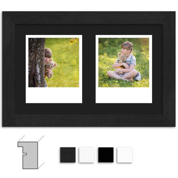 Bilderrahmen H960 modern mit Passepartout schwarz für 2 Polaroid Typ 600