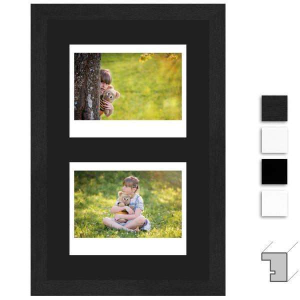 Bilderrahmen H950 Klassisch schmal mit Passepartout schwarz für 2 Instax Wide