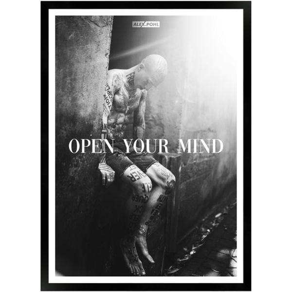 Open your mind by Alex Pohl | Poster mit Holzrahmen 50x70 cm