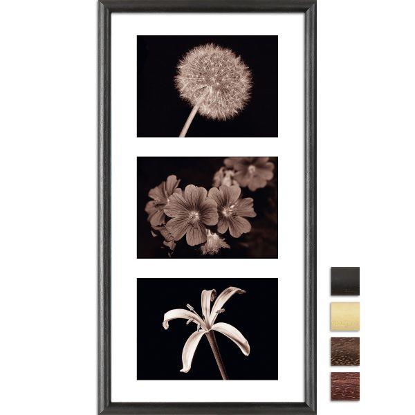 Galerierahmen G004 25 x 50 Normalglas inkl. Passepartout weiß - 3 Ausschnitte 13 x 18 quer