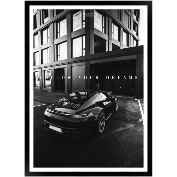 Follow your Dreams by Alex Pohl   Poster mit Holzrahmen 50x70 cm