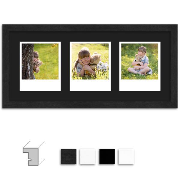 Bilderrahmen H950 Klassisch schmal mit Passepartout schwarz für 3 Polaroid Typ 600