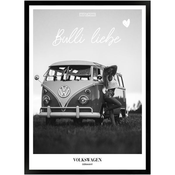 Bulli Liebe by Alex Pohl   Poster mit Holzrahmen 50x70 cm