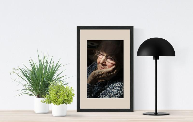 Barock Holz Bilderrahmen Schwarz Weiß Antrazit mit Passepartout Foto Collage